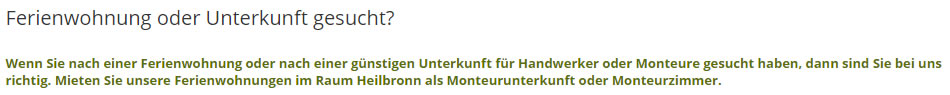 Handwerkerunterkünfte beziehungsweise Monteurunterkunft aus 75242 Neuhausen